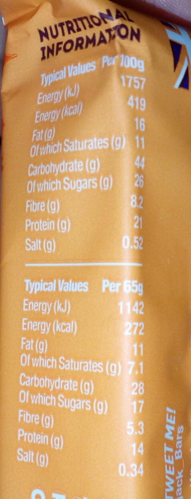 Barre protéinée flapjack gingembre, orange, chocolat noir - Informations nutritionnelles - en