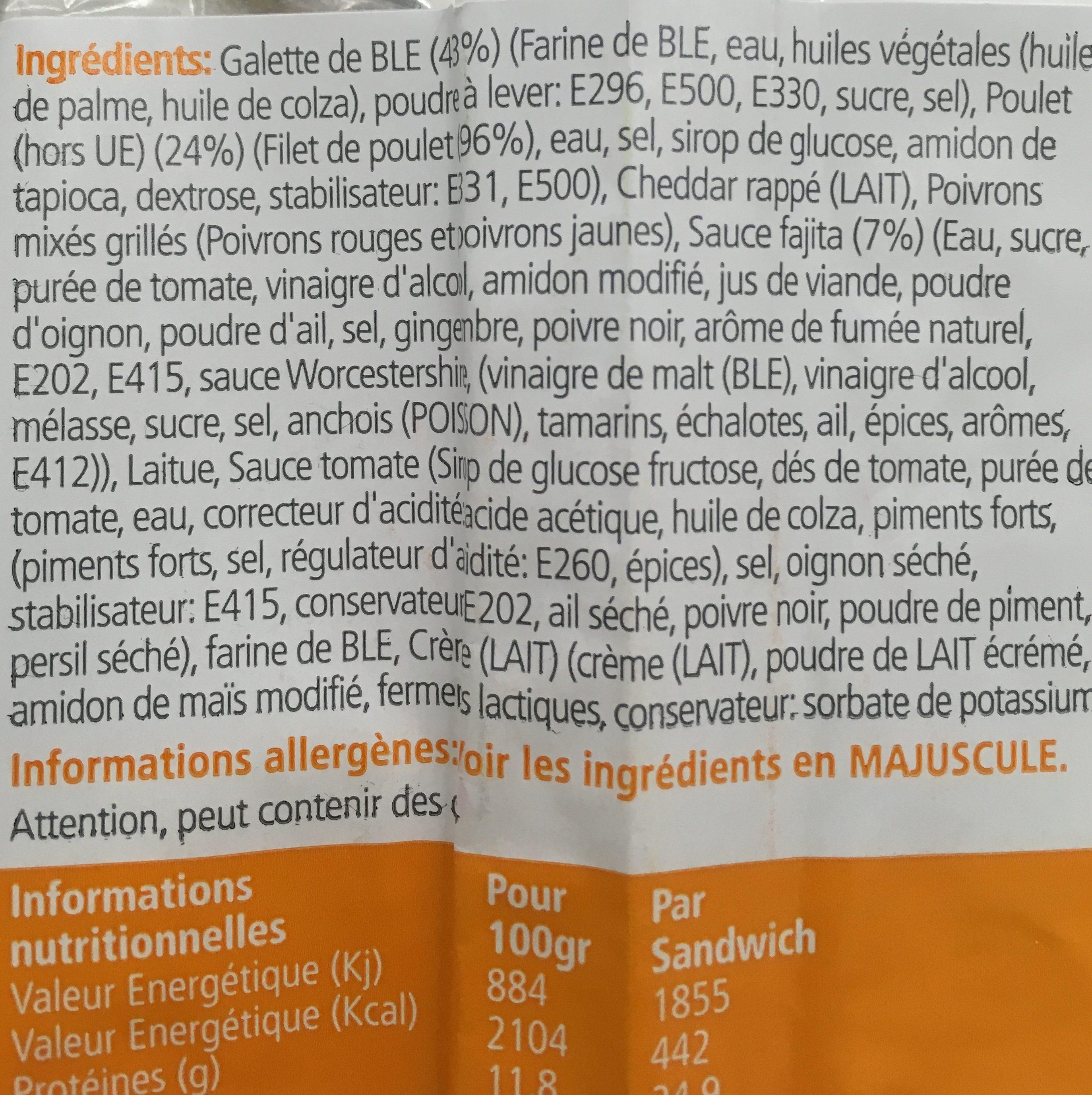 Wrap Poulet Fajita - Ingrediënten - fr