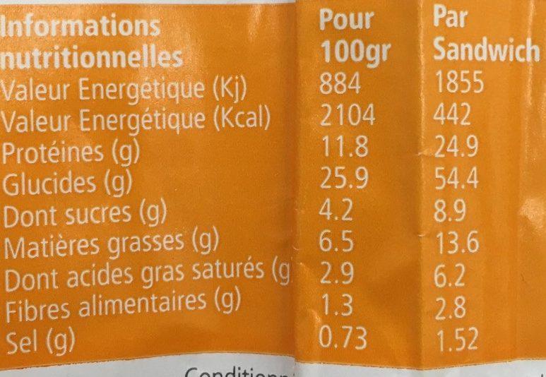 Wrap Poulet Fajita - Voedingswaarden - fr