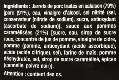 Souris de Porc Sauce aux pommes caramélisées - Ingrédients