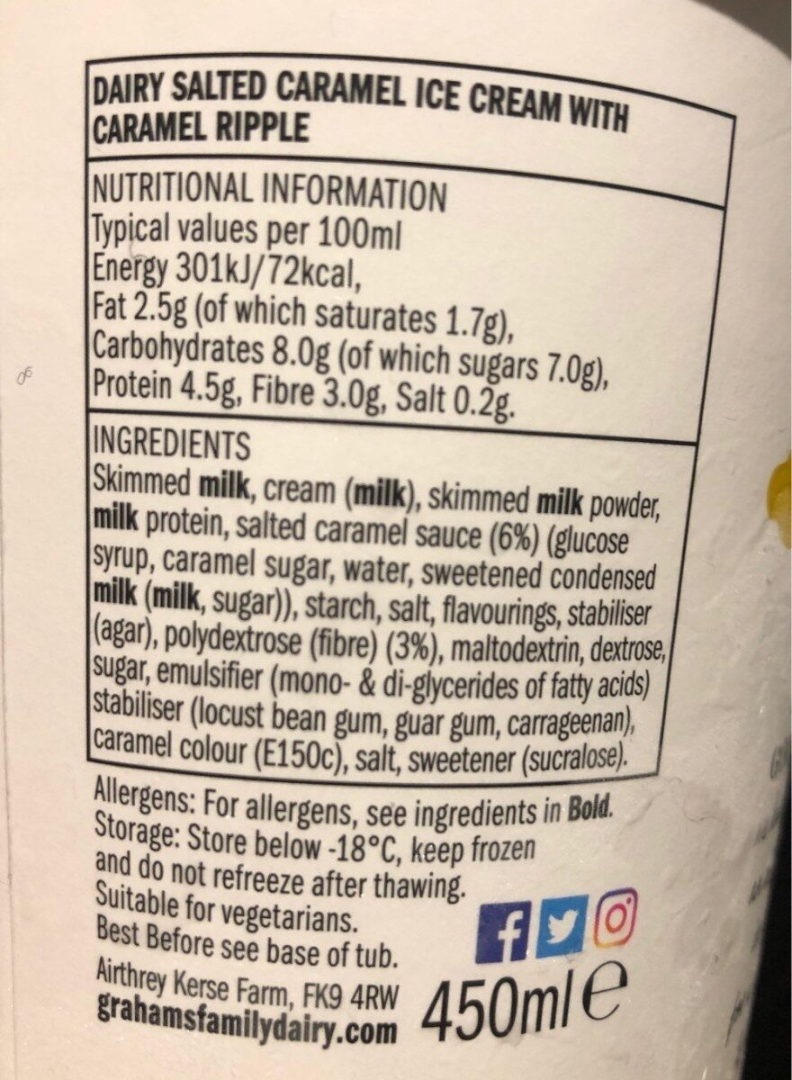 Graham's Goodness Salted Caramel Ice Cream - Nutrition facts
