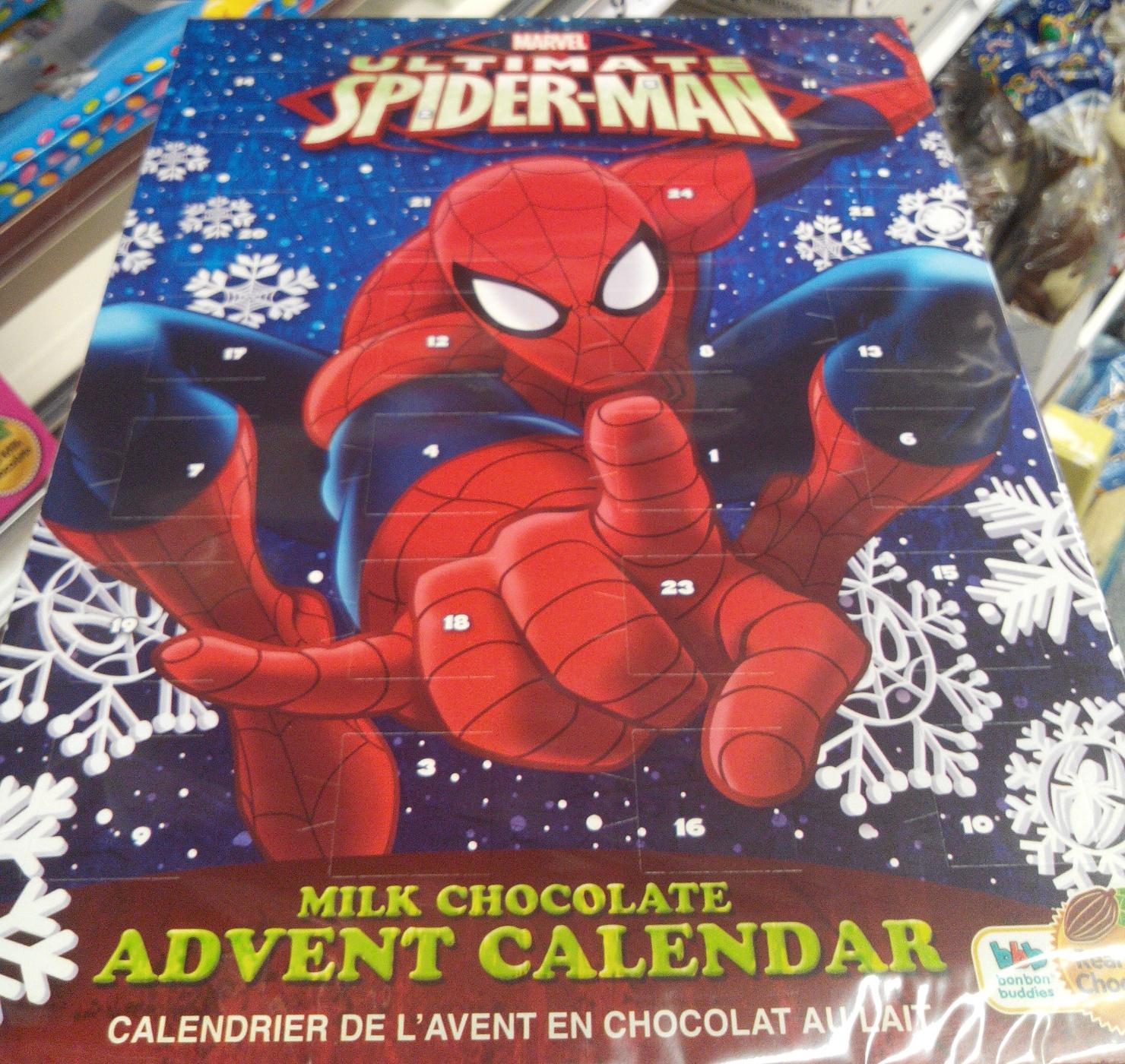 calendrier de l 39 avent en chocolat au lait spiderman 65 g. Black Bedroom Furniture Sets. Home Design Ideas