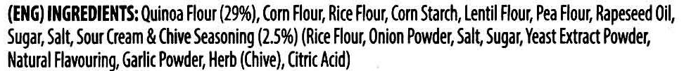 Quinoa Sour Cream & Chove Flavour Chips - Ingredients - en