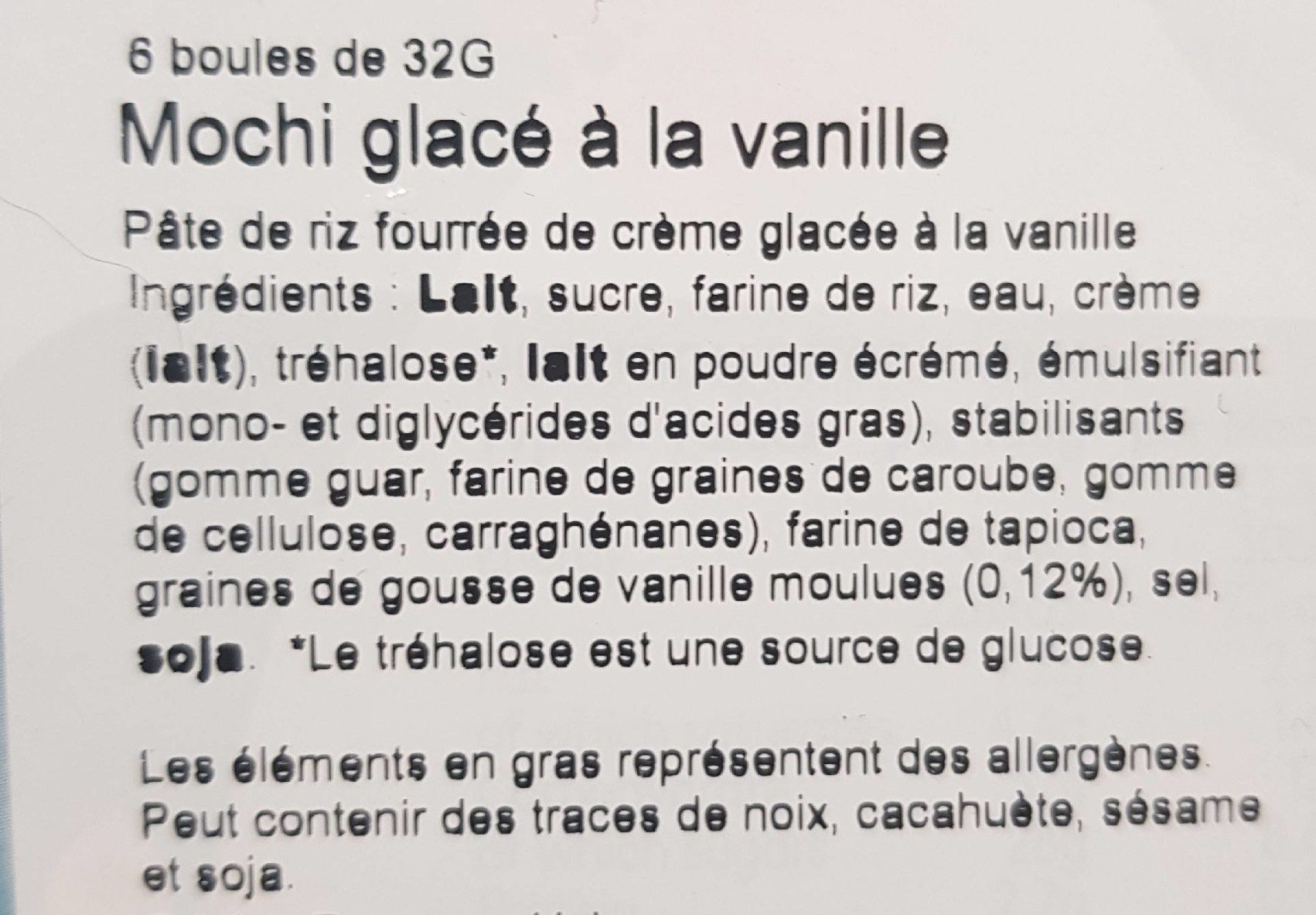 Littlemoon Vanilla Mochi Ice Cream - Ingredients
