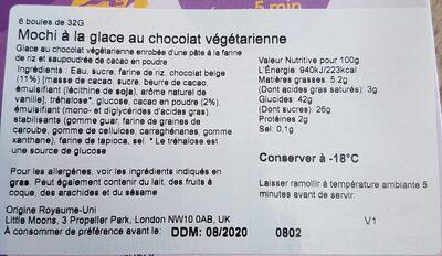 Soft Mochi & Vegan Ice Cream Belgian Chocolate 6 x (192g) - Valori nutrizionali - fr