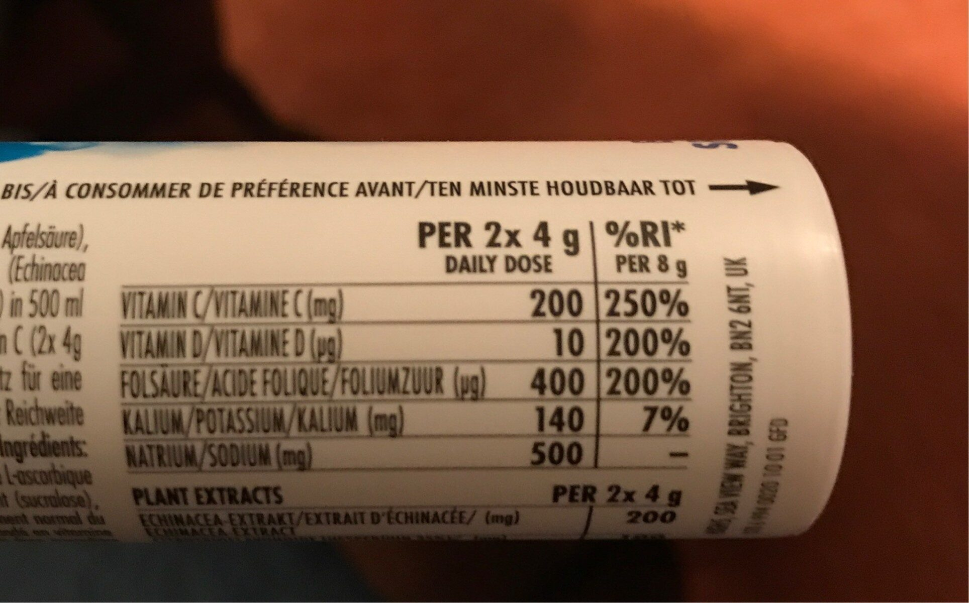 Orange & echinacea - Informations nutritionnelles - fr