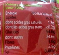 Muffin Cranberry et Myrtille - Informations nutritionnelles - fr