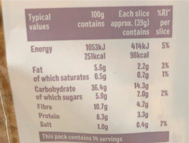 Baker Street Sliced Seeded - Voedingswaarden - fr