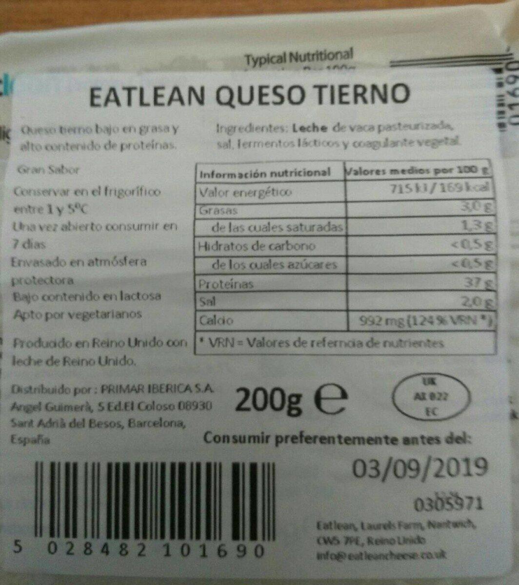 Eatlean queso tierno - Informació nutricional - en