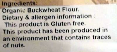 Buckwheat Flour - Gluten Free - Ingredients