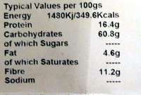 Buckwheat Flour - Gluten Free - Nutrition facts