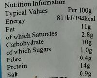 pork sausages - Nutrition facts - en