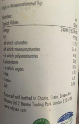 Greek extra virgin olive oil - Nutrition facts - en
