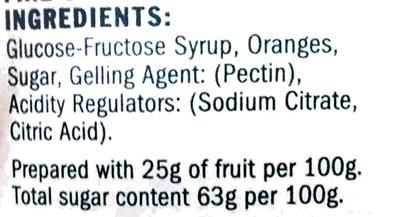 Seville Orange Fine Cut Marmalade - Ingredients