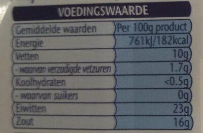 Ansjovisfilets in olifolie - Voedingswaarden - nl