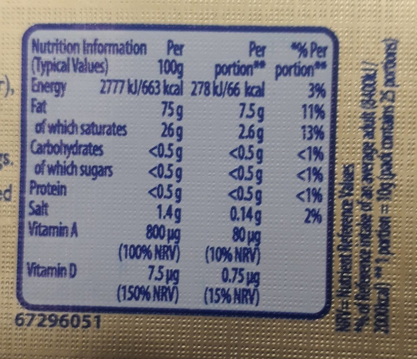 Stork for baking & cooking - Nutrition facts