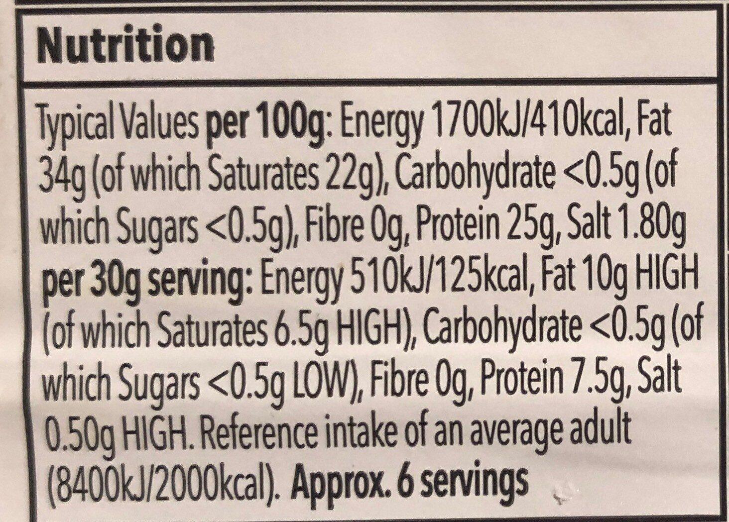 Somerset Vintage Cheddar - Informations nutritionnelles