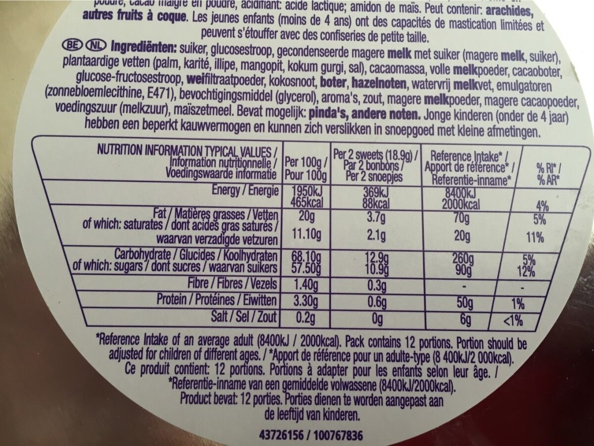 Quality Street chocolates & toffees - Informations nutritionnelles - fr