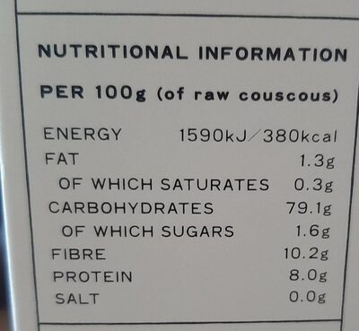 Barley couscous - Informations nutritionnelles - en