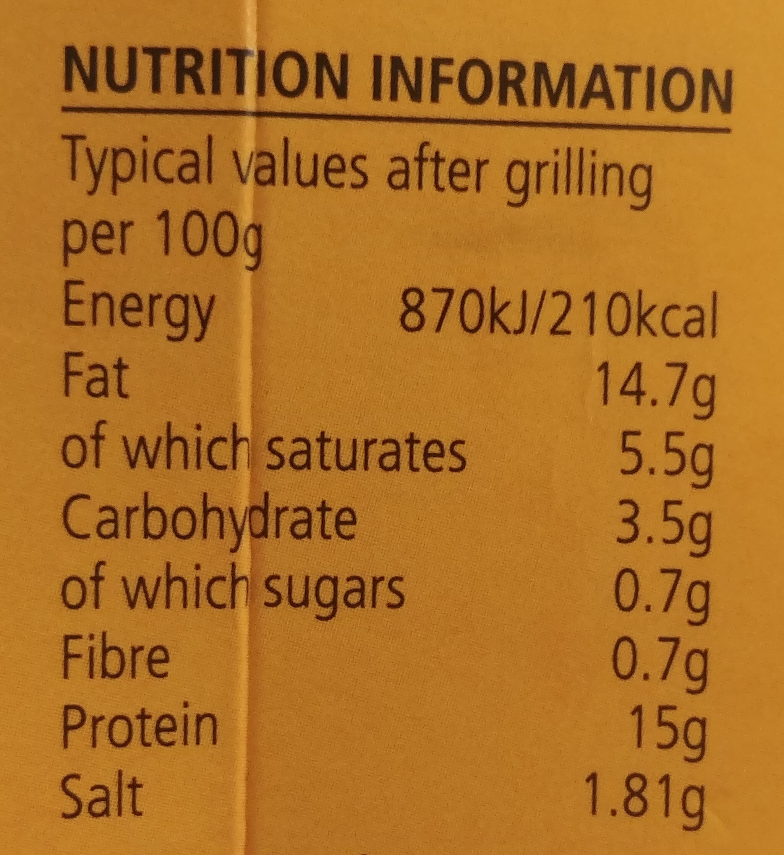 Gluten & dairy free sausages - Informations nutritionnelles - en