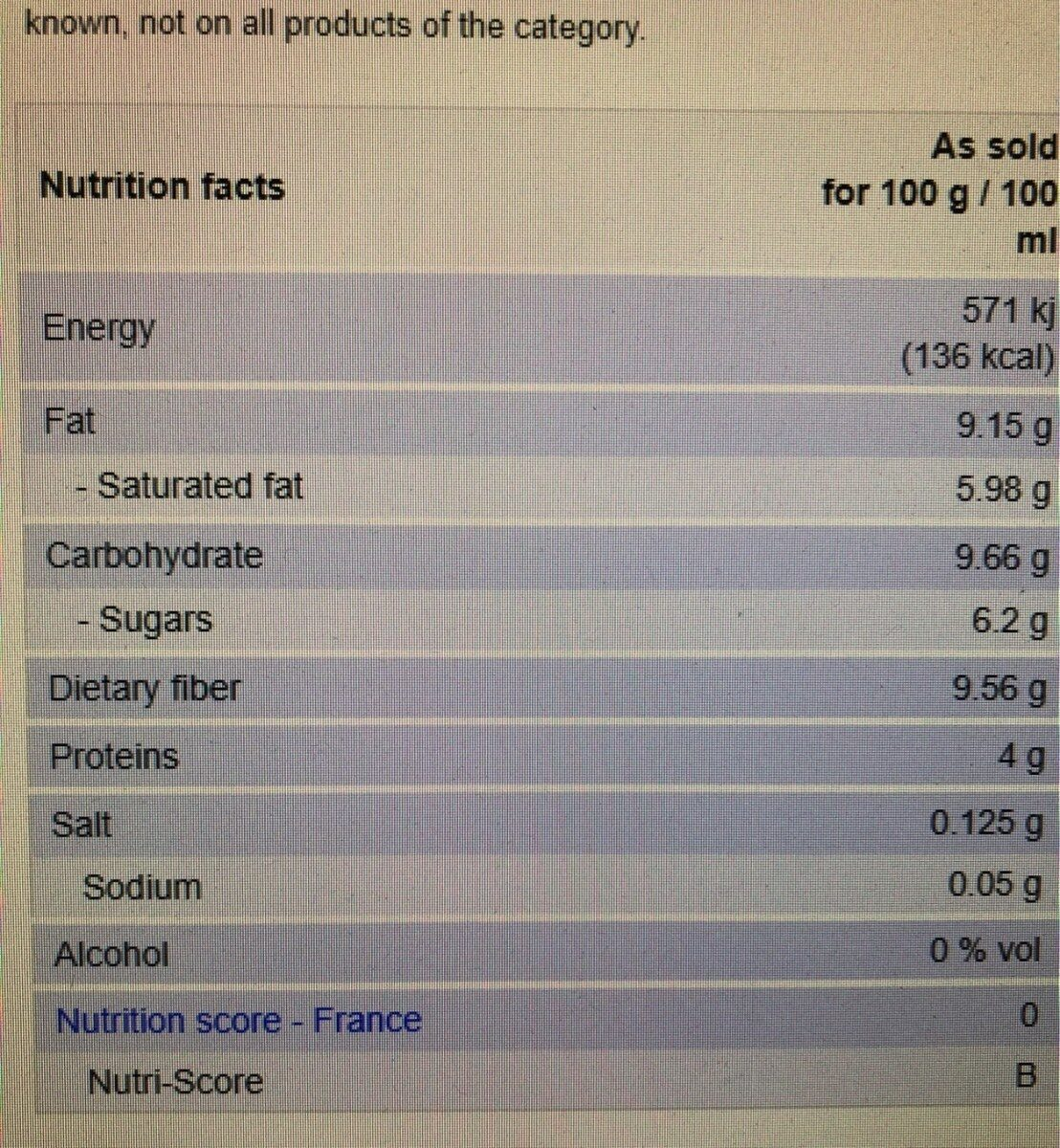 PMB-503 - Nutrition facts