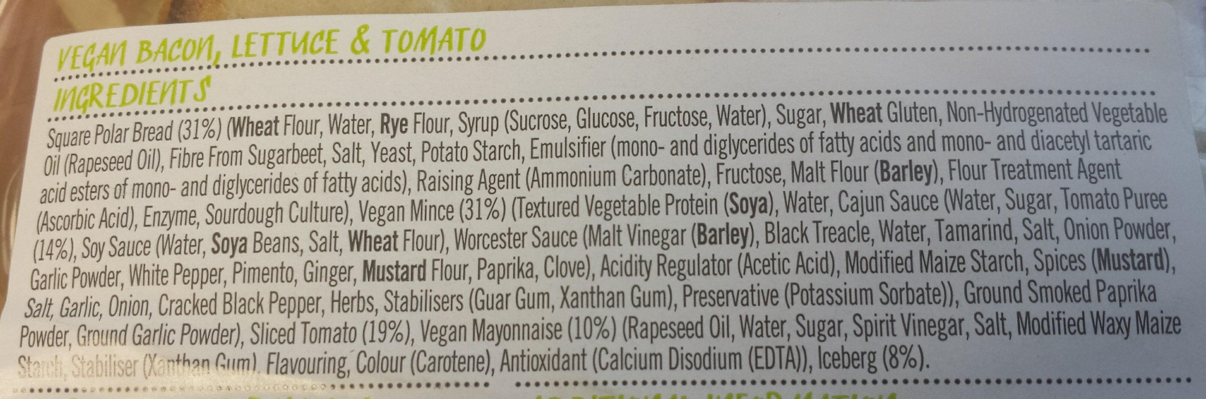 The VLT - Vegan Bacon, lettuce and tomato - Ingredients