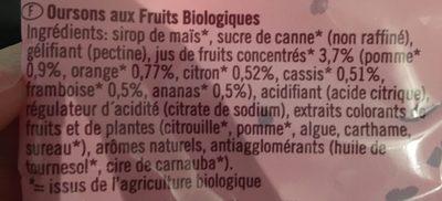 Biona Organic Mini Fruit Gum Bear Sweets 75G - Ingredients