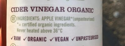Raw Health: Organic Apple Cider Vinegar - 500ML - Ingredients - fr