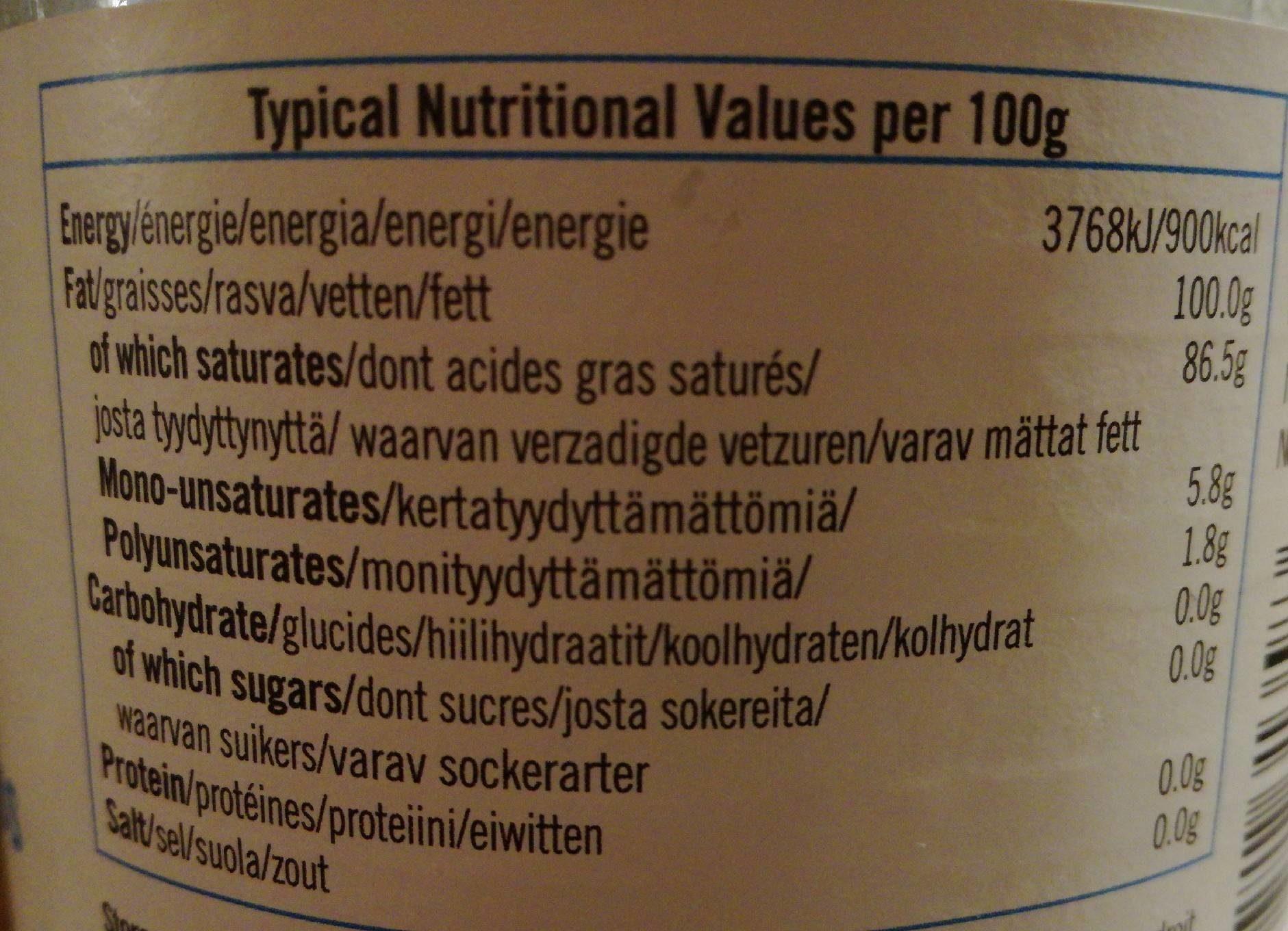 Mild Odourless Coconut Oil Cuisine - Informations nutritionnelles - fr