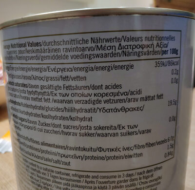 Jackfruit Young Tender Pieces - Nutrition facts - en