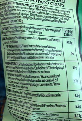 Pipers Burrow Hill Cider Vinegar & Sea Salt Crisps - Informations nutritionnelles - fr