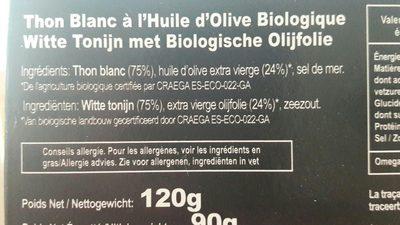 Thon blanc huile olives bio - Ingrédients