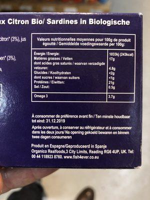 SARDINES HUILE OLIVE CITRON BIO - Ingrédients