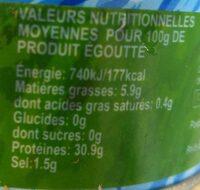 Thon atlantique listao - Valori nutrizionali - fr