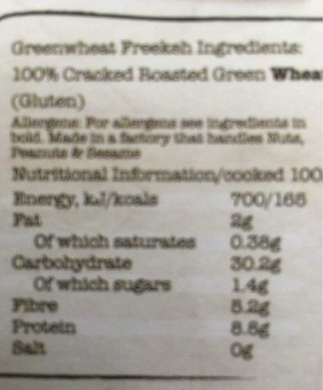 Artisan Grains Freekeh - Voedingswaarden - fr