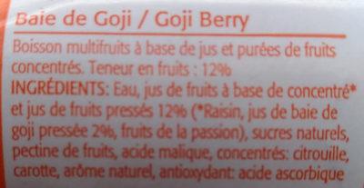 Baies de goji - Informations nutritionnelles
