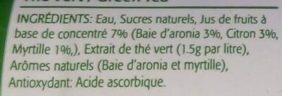 Thé vert aronia et myrtille - Ingrediënten