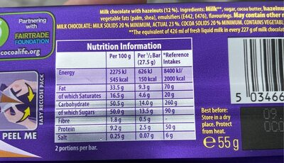Cadbury dairy milk chocolate bar wholenut - Nutrition facts - en