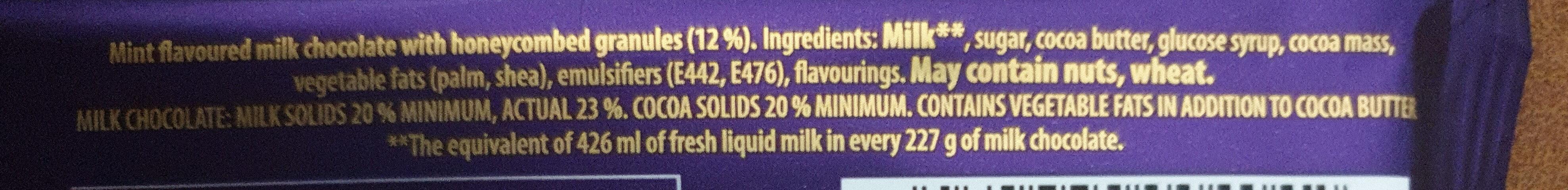 Cadbury dairy milk chocolate bar mint - Ingrédients - en