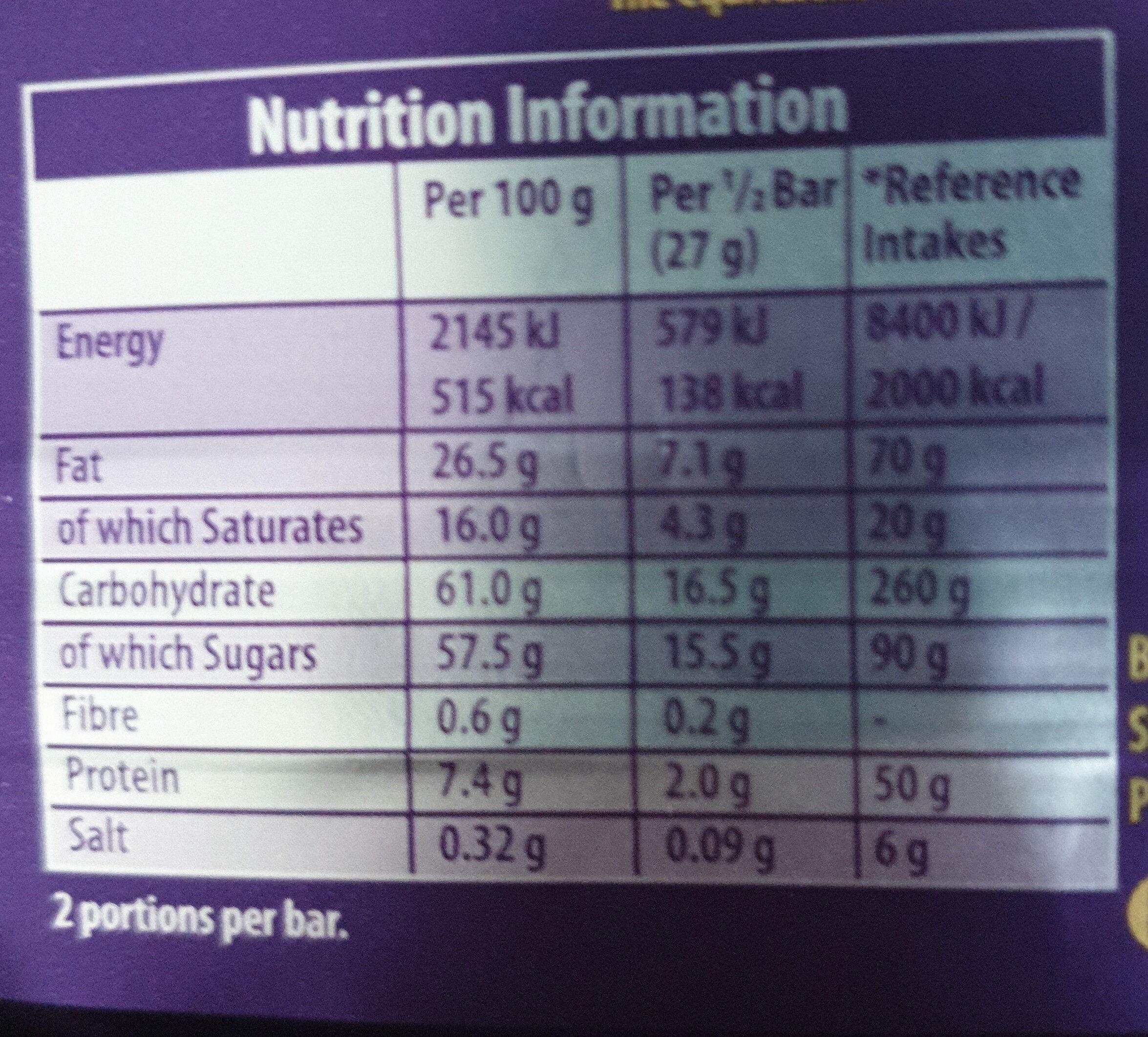 Cadbury dairy milk chocolate bar mint - Informations nutritionnelles - en