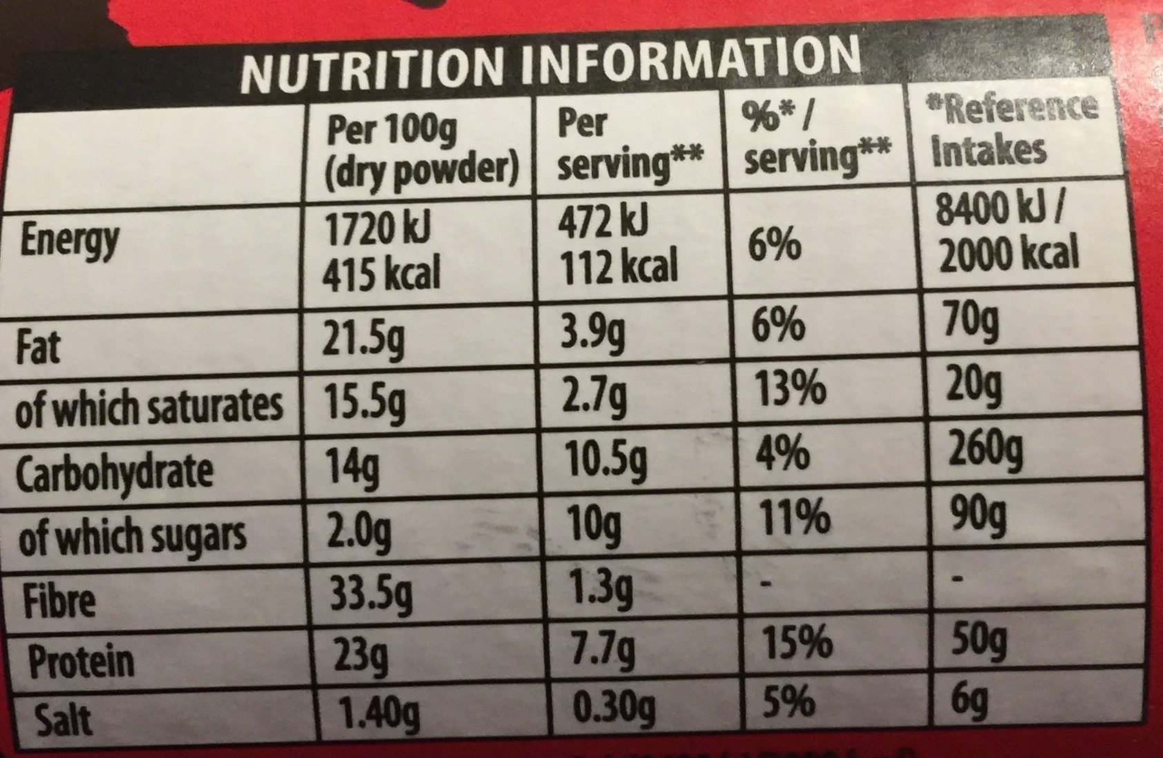 Bournville Cocoa for Drinking or Baking - Nutrition facts