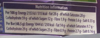 Cadbury Boost - Informations nutritionnelles - en