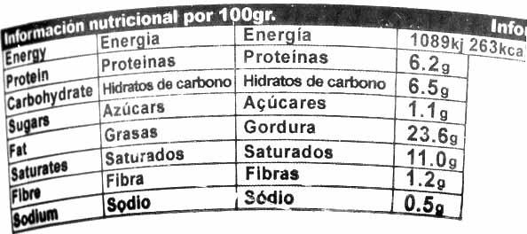 Queso vegetal Creamy Original - Nutrition facts