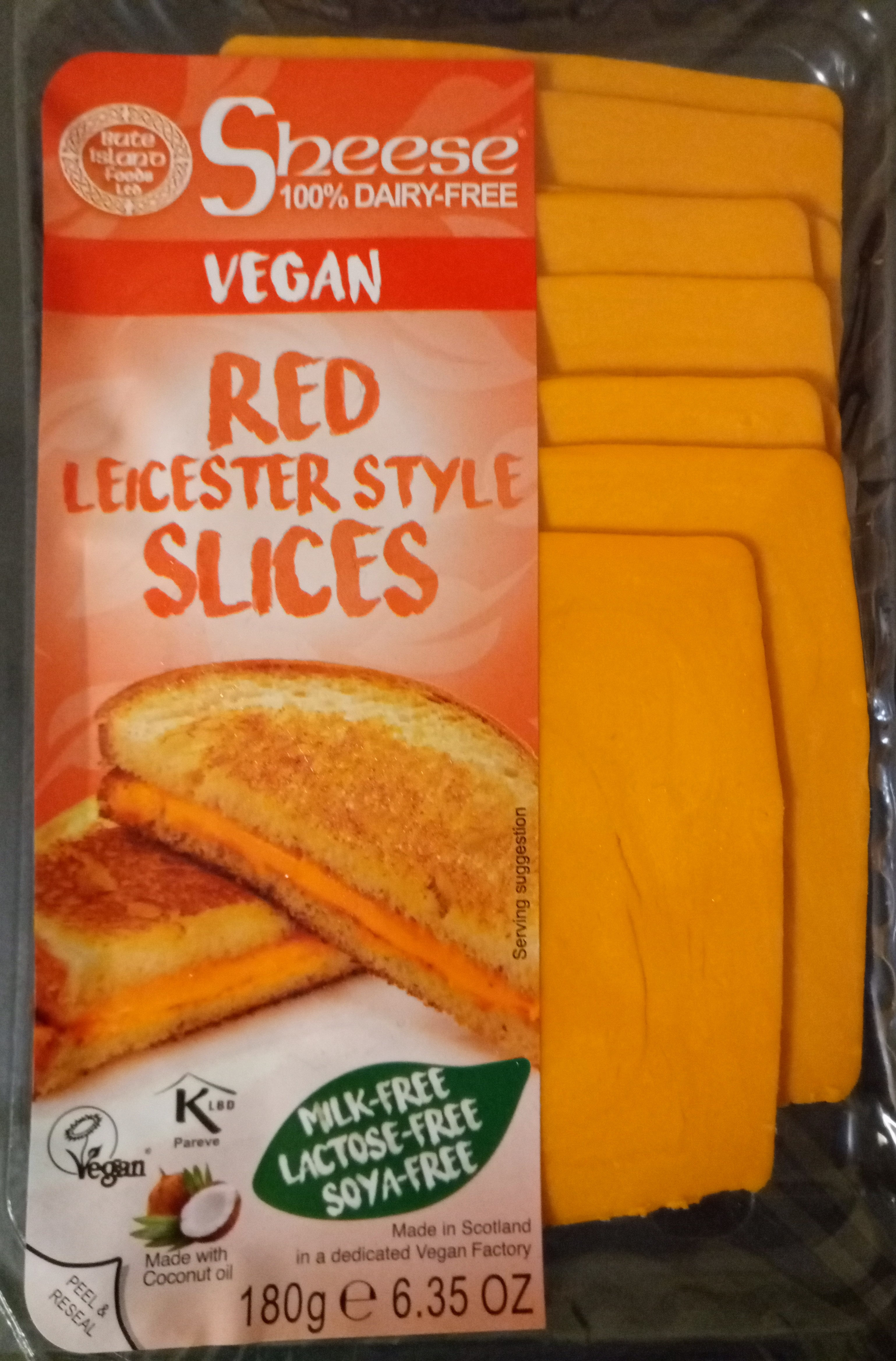 Dairy-free vegan Sheese, Red Leicester Style Slices - Product - en