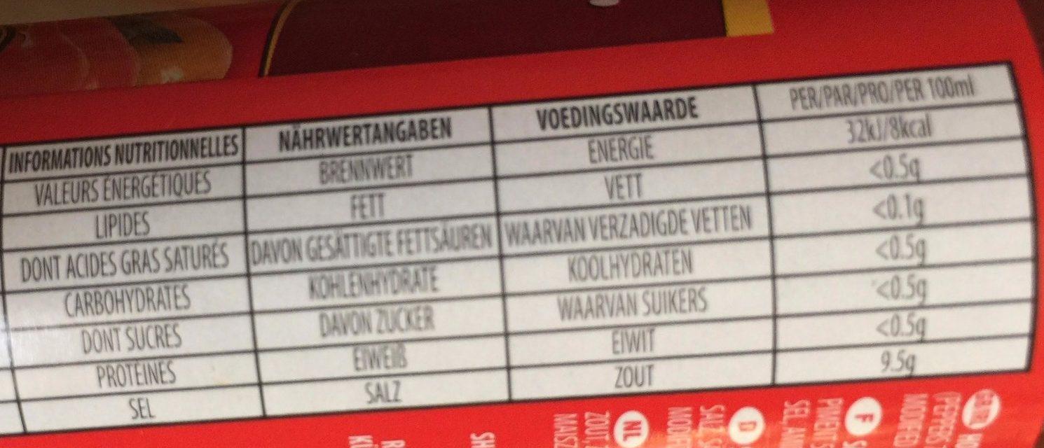 Hot pepper sauce - Informations nutritionnelles - fr