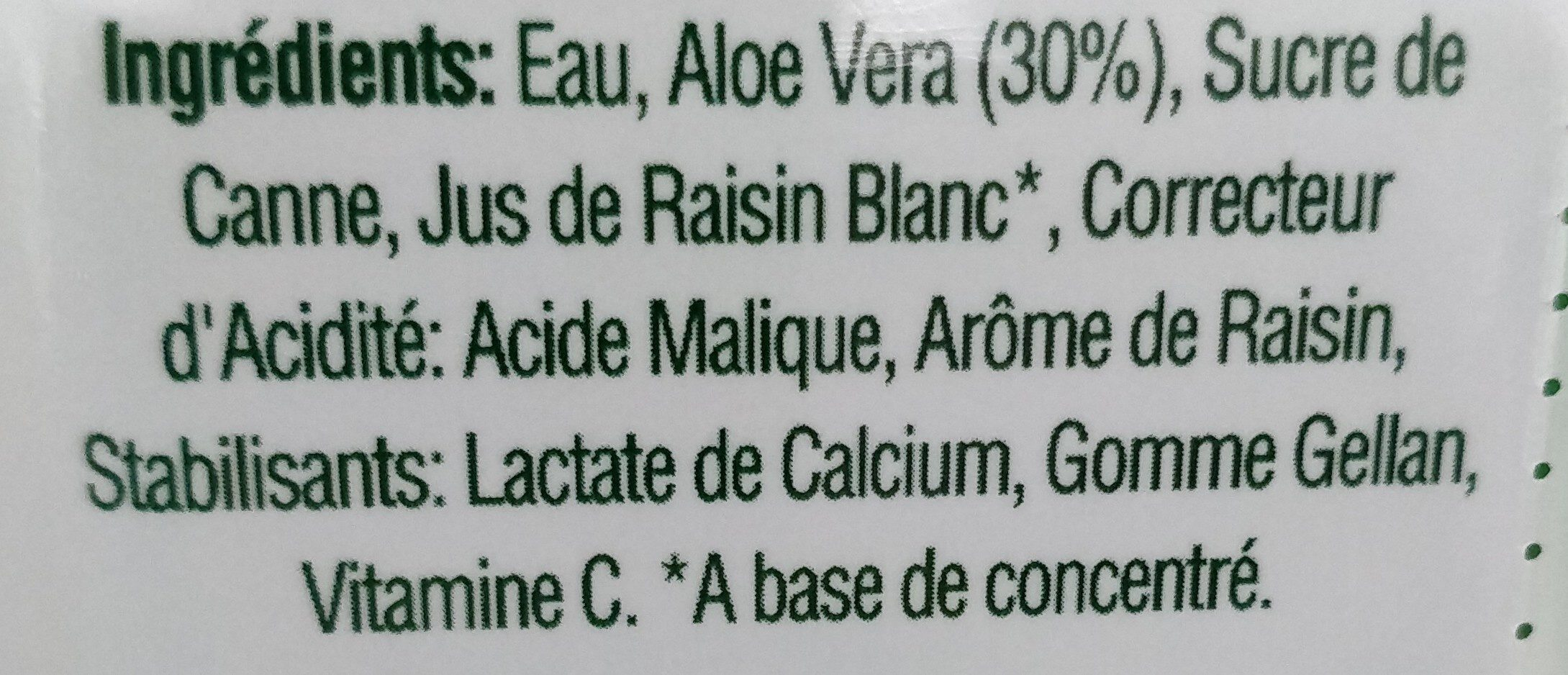 ALOE VERA DRINK white real aloe pieces - Ingredients - fr