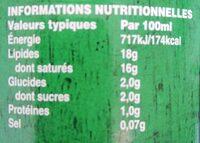 Lait de Coco Premium - Voedingswaarden - fr