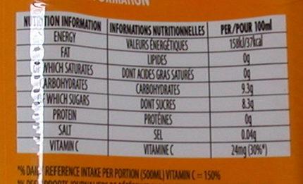 Aloe Vera Goût Mangue - Nutrition facts