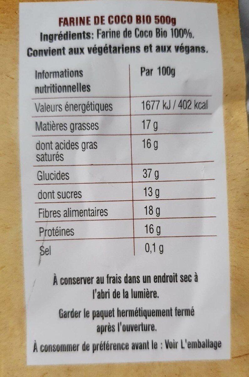 Organic Coconut Flour - Informations nutritionnelles - fr