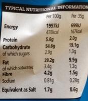 Handcookes sea salt & malt vinegar flavour potato crisps - Informations nutritionnelles